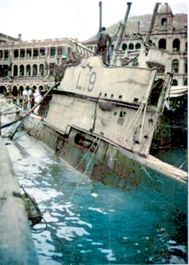 In August 1923, L9 foundered in Hong Kong harbour in a typhoon and was later salvaged, but was not refitted