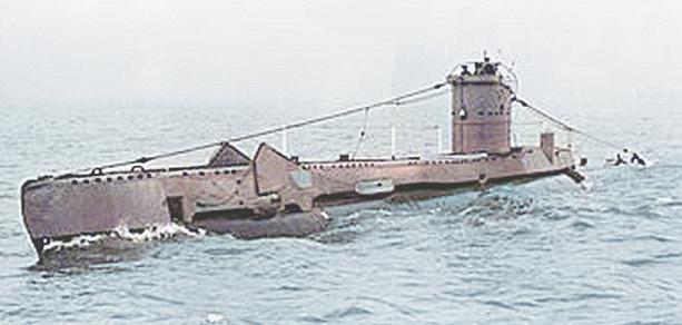 HMS Upstart shown here post war without a gun. Note modern ASDIC dome aft.