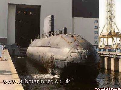 Unseen being lifted out of the water during her reactivation