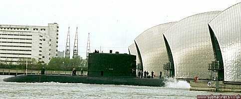Upholder passing through the Thames barrier